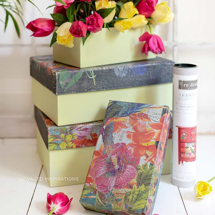 Fabric Boxes Painted w Floral Transfers IG