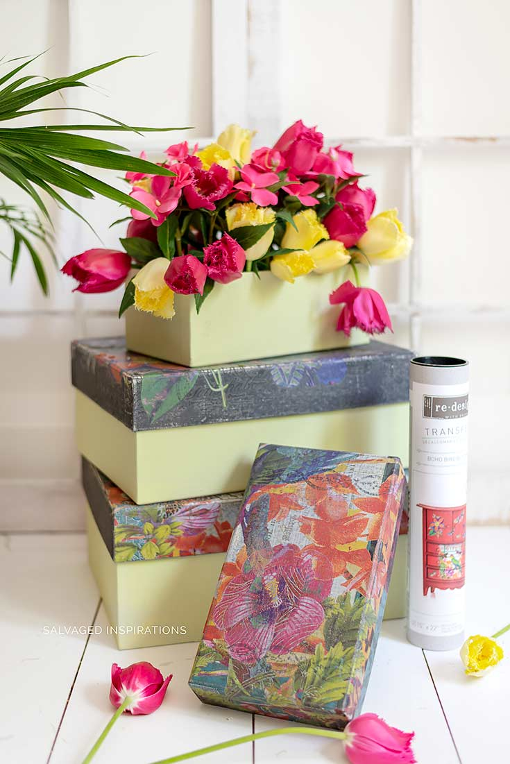 Fabric Boxes Painted w Floral Transfers