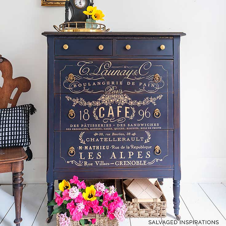 Gold French Transfer Painted Dresser IG