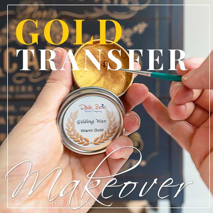 Gold Transfer Tallboy Dresser Makeover