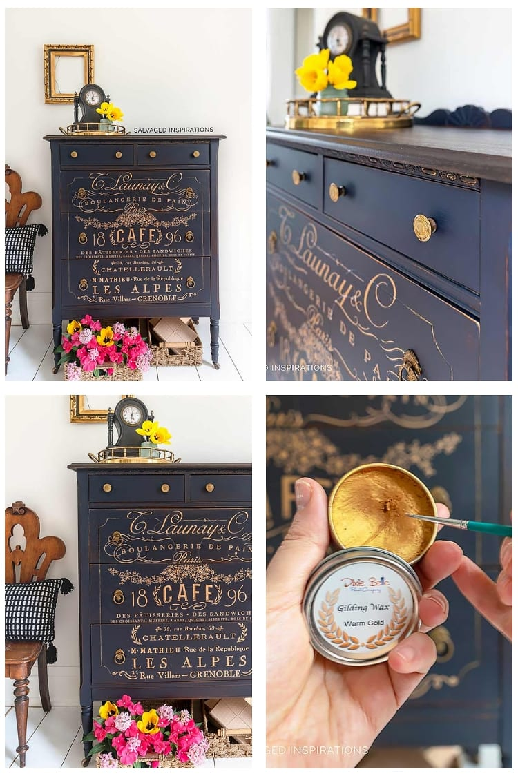 In The Navy Blue Painted Tallboy w French Gold