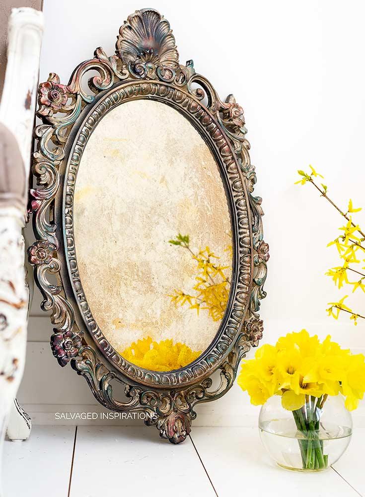 Plastic Thrift Store Mirror Into DIY Antique Mirror
