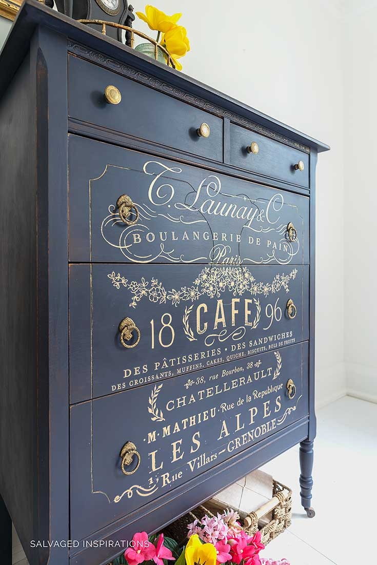ReDesign French Furniture Transfer on Painted Tallboy Dresser