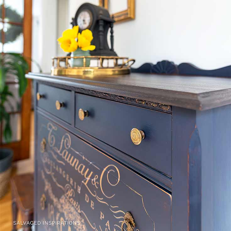 Side View of Painted Dresser w Gold Furniture Transfer
