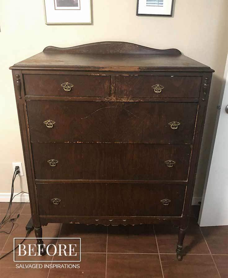 Vintage Tallboy Dresser Before - Salvaged Inspirations
