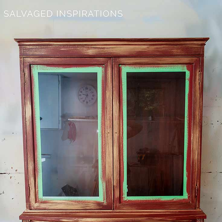 China Cabinet Painted w Rustic Red And Copper In Progress