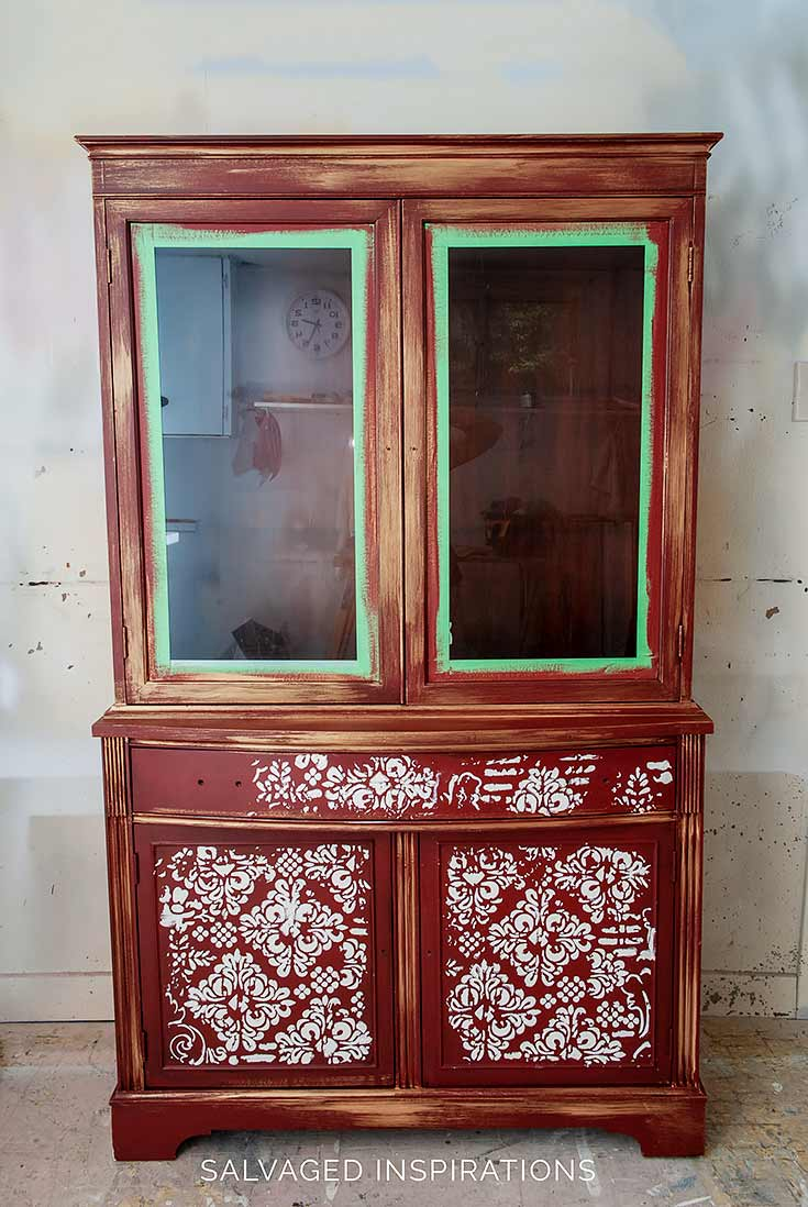 China Cabinet with Embossed Stencil Design In Progress