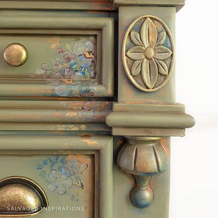 Close Up of Painted Dresser with Stencil Transfer and Decor Wax IG