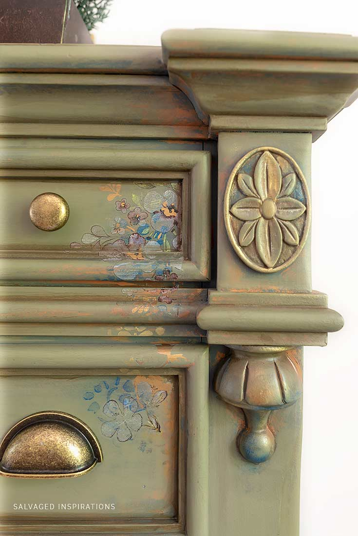 Close Up of Painted Dresser with Stencil Transfer and Decor Wax