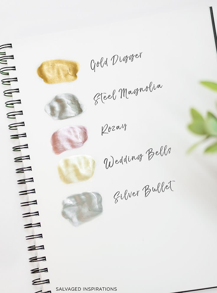 Examples of Moonshine Metallic Paints by Dixie Belle by Salvaged Inspirations