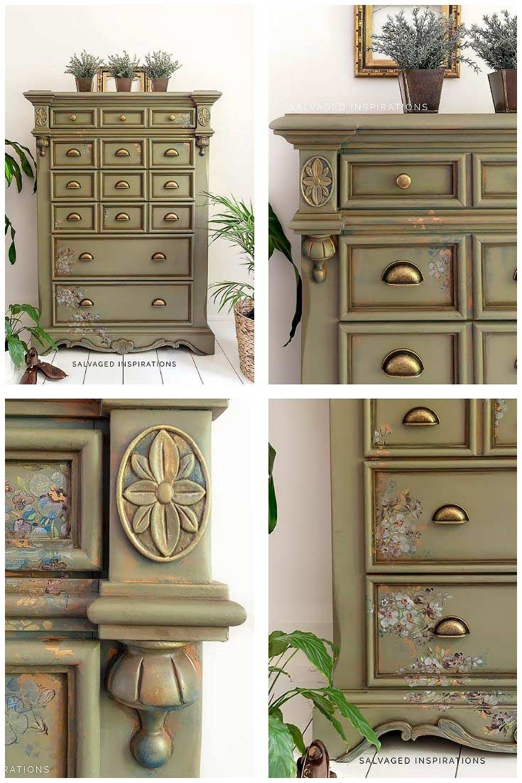 Painted Dresser w Dixie Belles Spanish Moss
