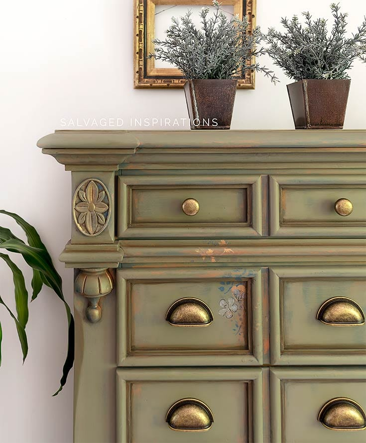 Painted Spanish Moss Tallboy Dresser