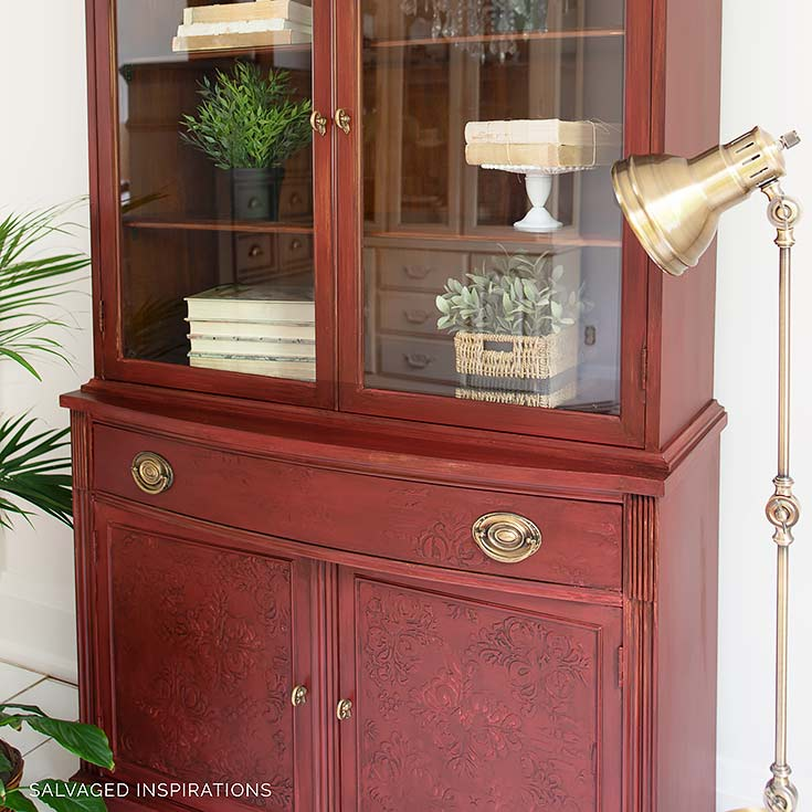 Raised Stencil Emboss China Cabinet Makeover