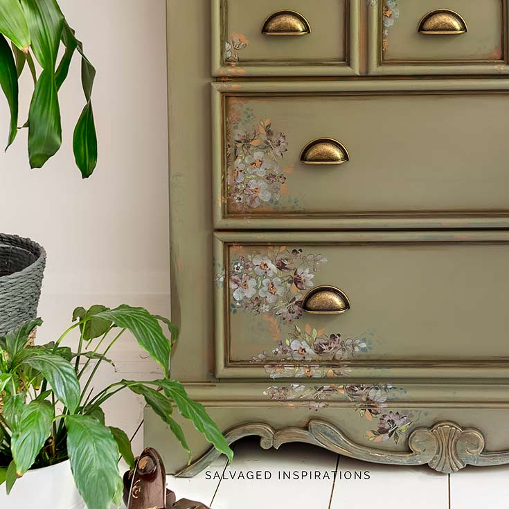 Spanish Moss Dresser Makeover w Stencil and Floral Transfer IG