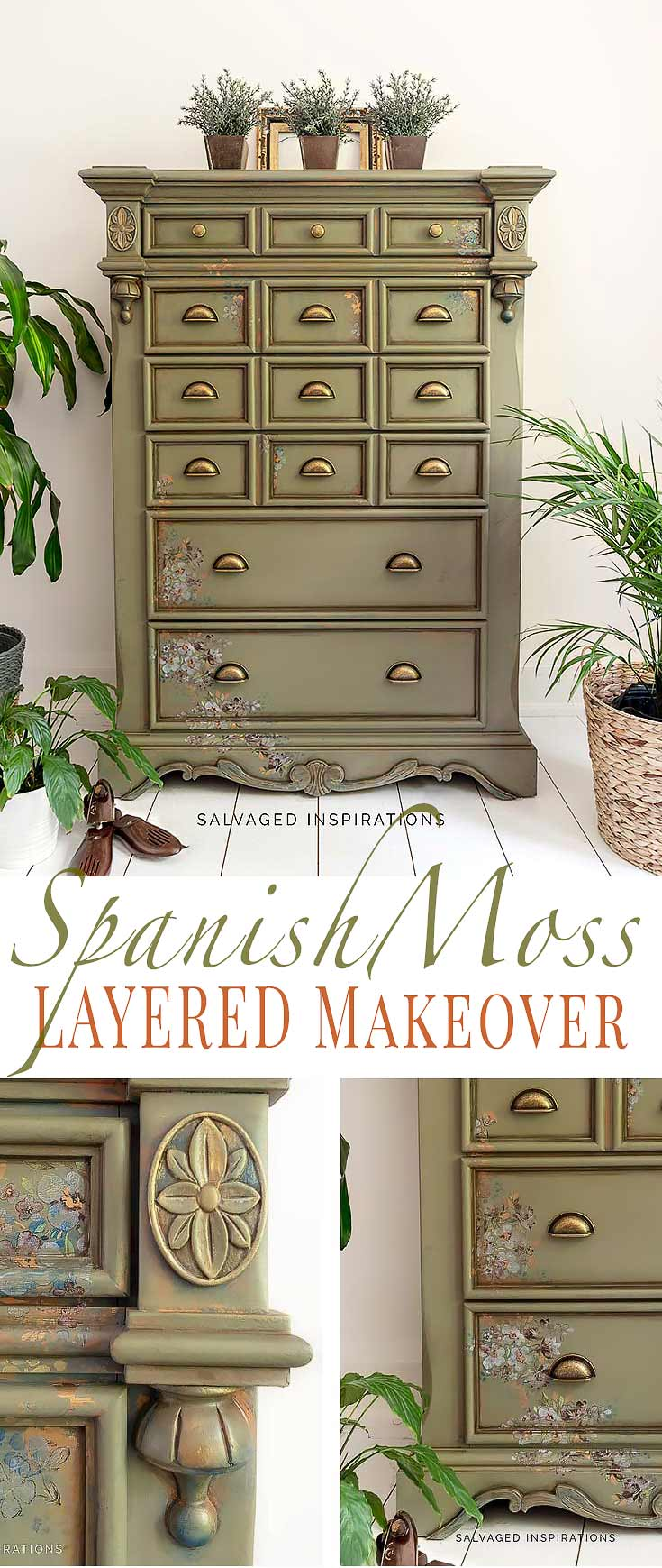 Spanish Moss Layered Dresser Makeover Salvaged Inspirations