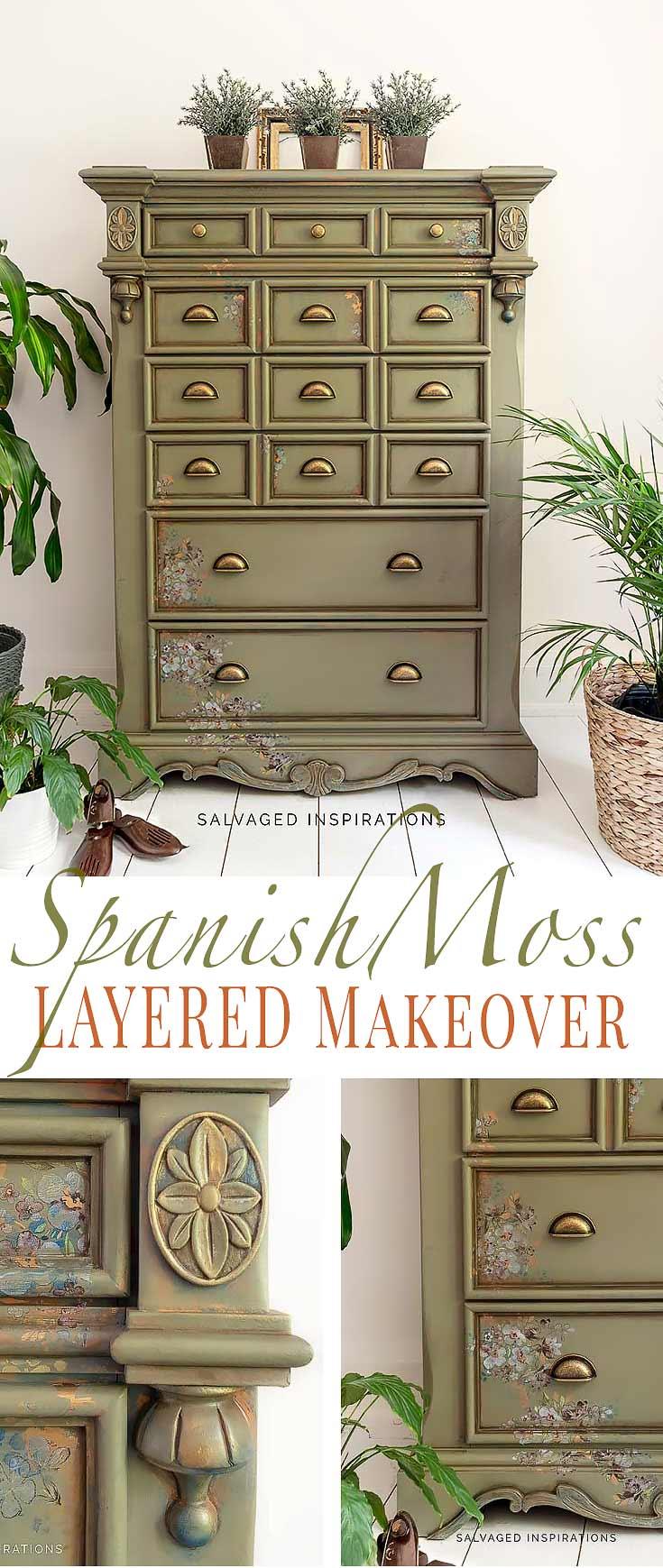 Spanish Moss Layered Dresser Makeover Salvaged Inspirations