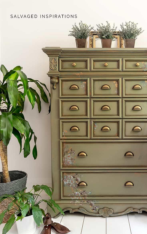 Spanish Moss Painted Dresser Makeover