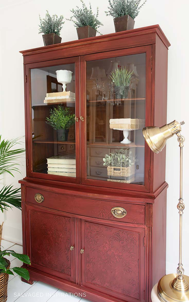 Stencil Embossed China Cabinet Makeover