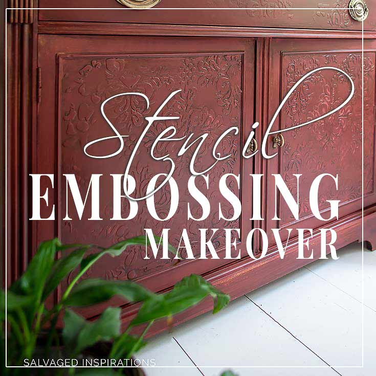 Stencil Embossing Cabinet Makeover
