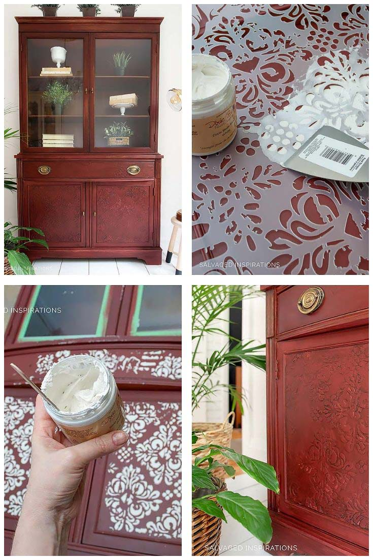 Stencil Embossing on Painted Furniture