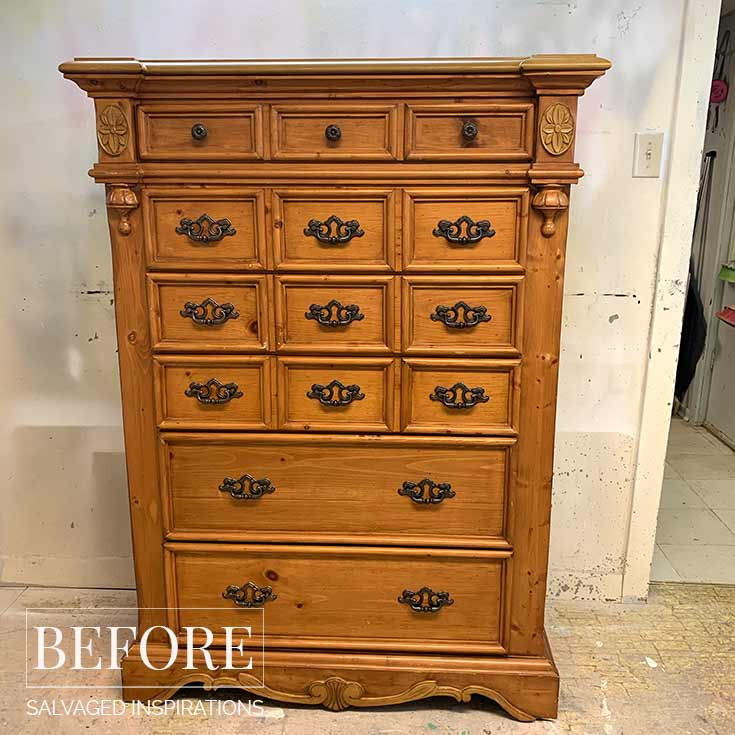 Tallboy Pine Dresser Before