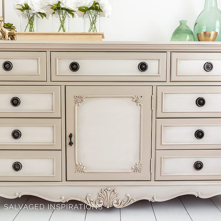 Close Up of Blended Paint Technique on Dresser Makeover