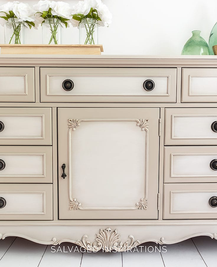 Close Up of Blended Paint on Classic Dresser Makeover