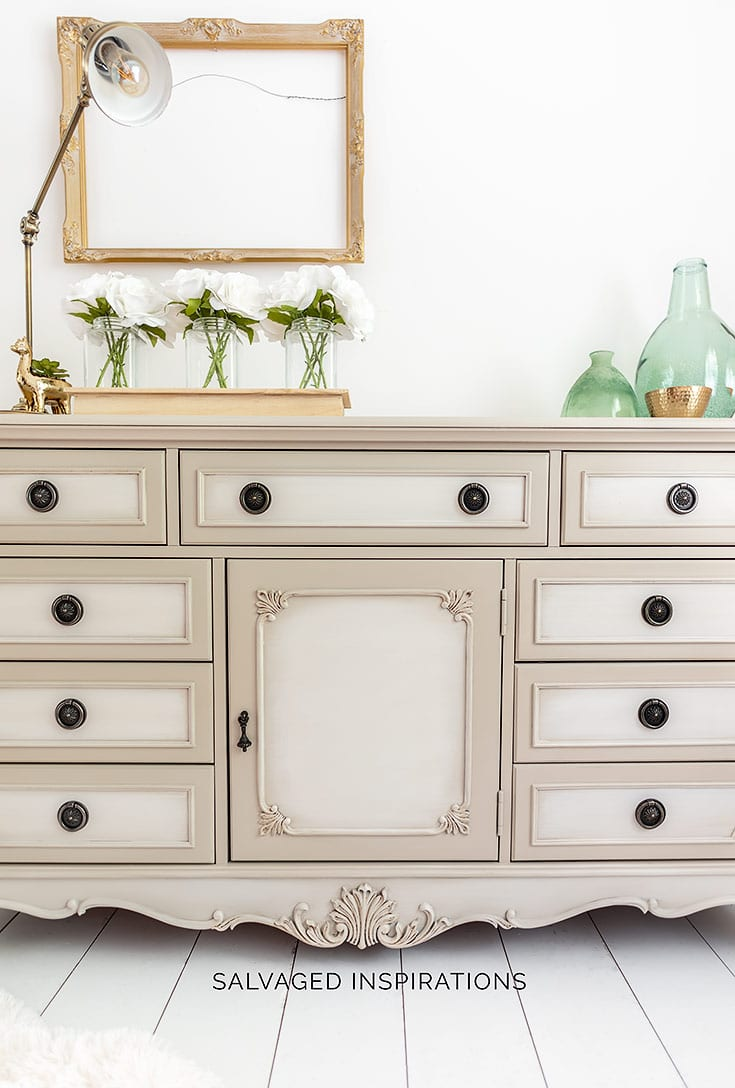 Close Up of Blended Paint on Dresser Makeover