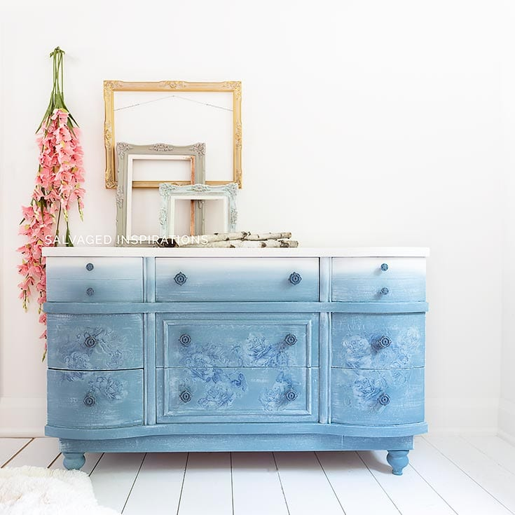 Dusty Blue Floral Painted Dresser