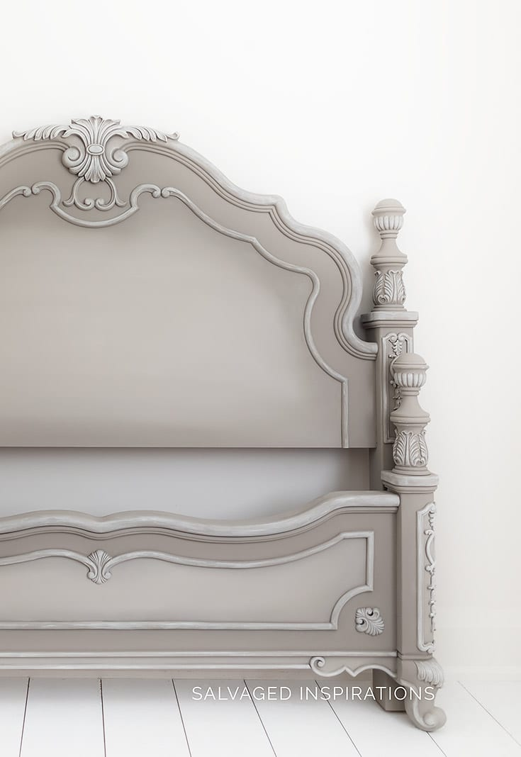 French Linen Painted Headboard and Footboard