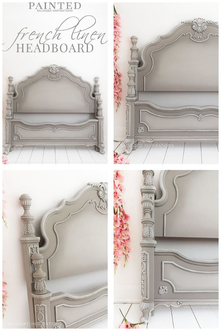 Headboard Painted in French Linen by Salvaged Inspirations