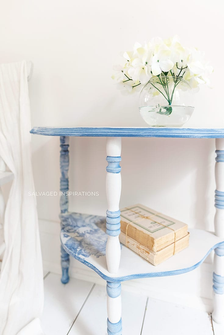 PAINTING SPINDLES ON SIDE TABLE MAKEOVER