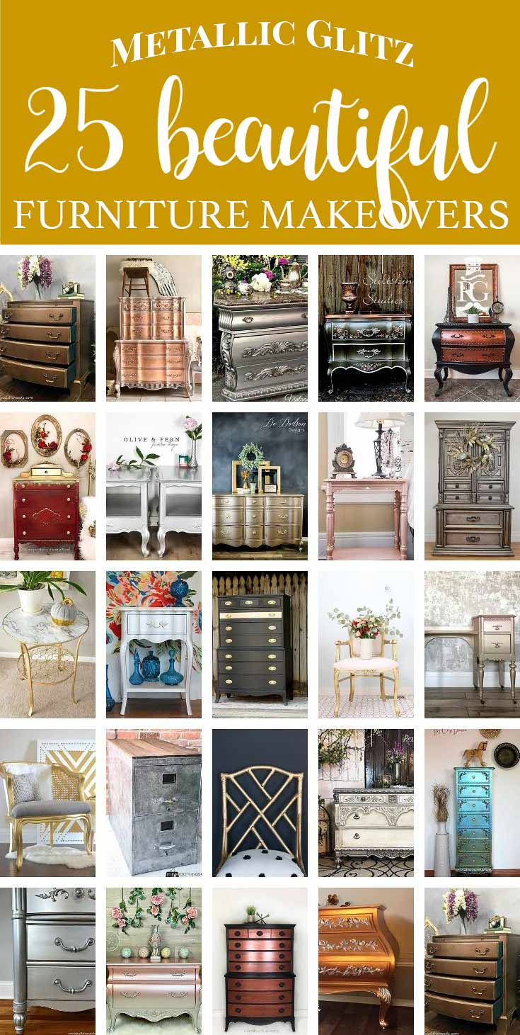 25 Metallic Painted Furniture Ideas Featured On Salvaged INspirations txt