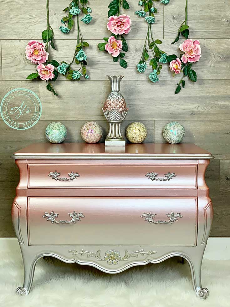 AJ Vintage Designs Metallic Painted Dresser
