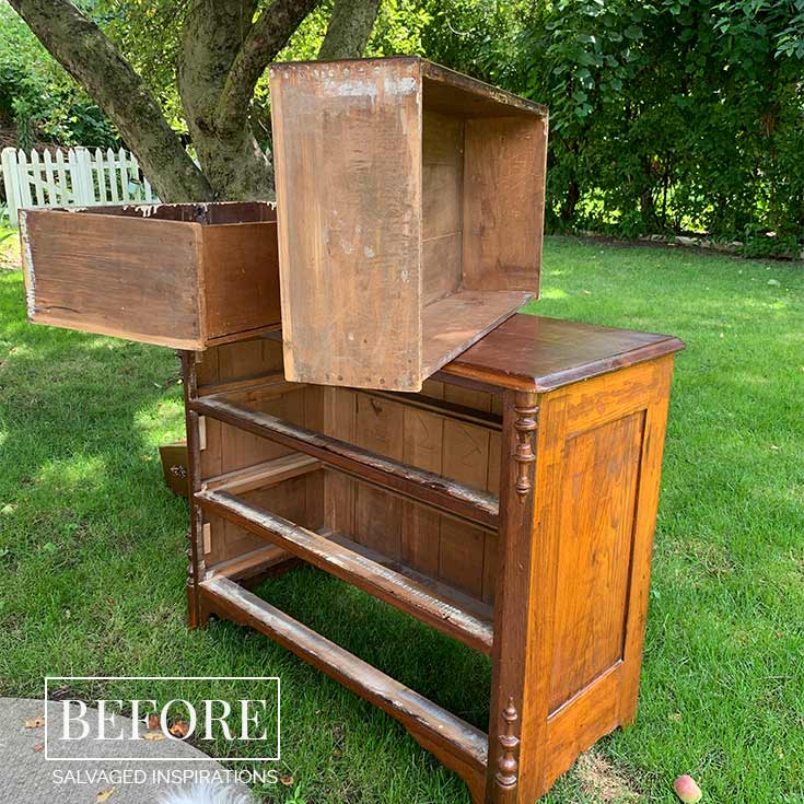 Antique Dresser Before - Deodorize Drawers
