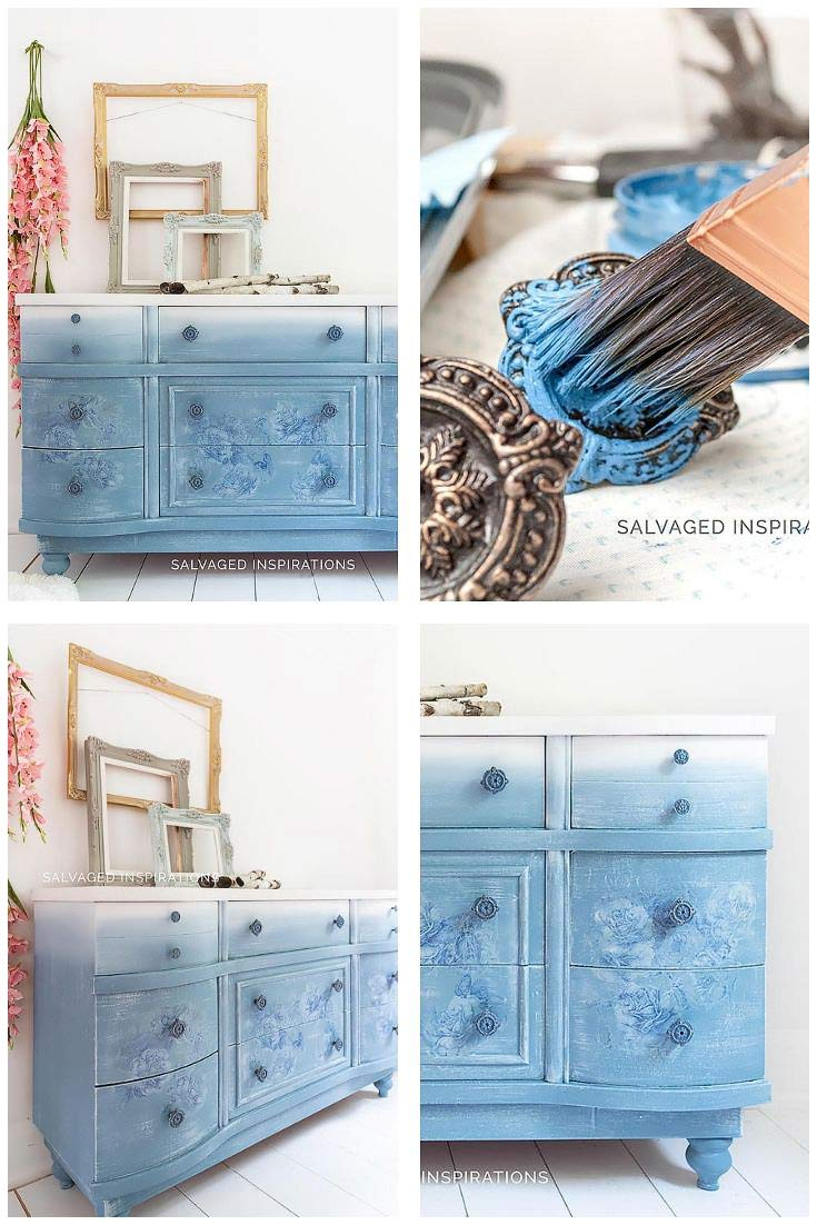 DB Dusty Blue Floral Dresser Collage