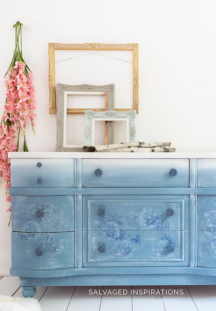 DB NEW Dusty Blue Floral Painted Dresser