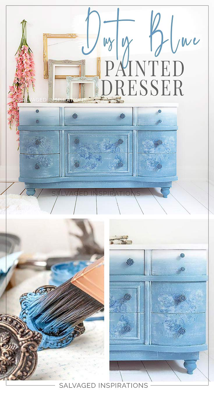 Dusty Blue Floral Painted Dresser by Salvaged Inspirations