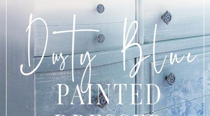 Dusty Blue Floral Painted Dresser