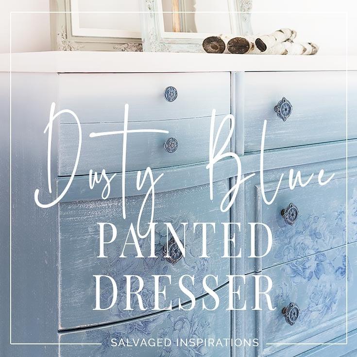 Dusty Blue Floral Painted Dresser txt