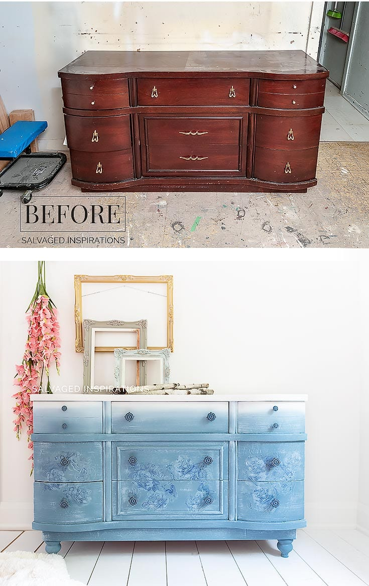 Dusty Blue Painted Dresser Before and After