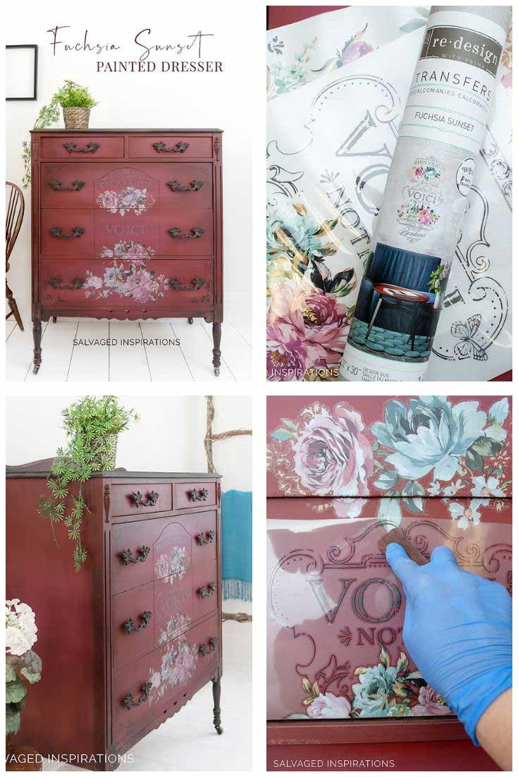 Fuchsia Sunset Painted Dresser Makeover