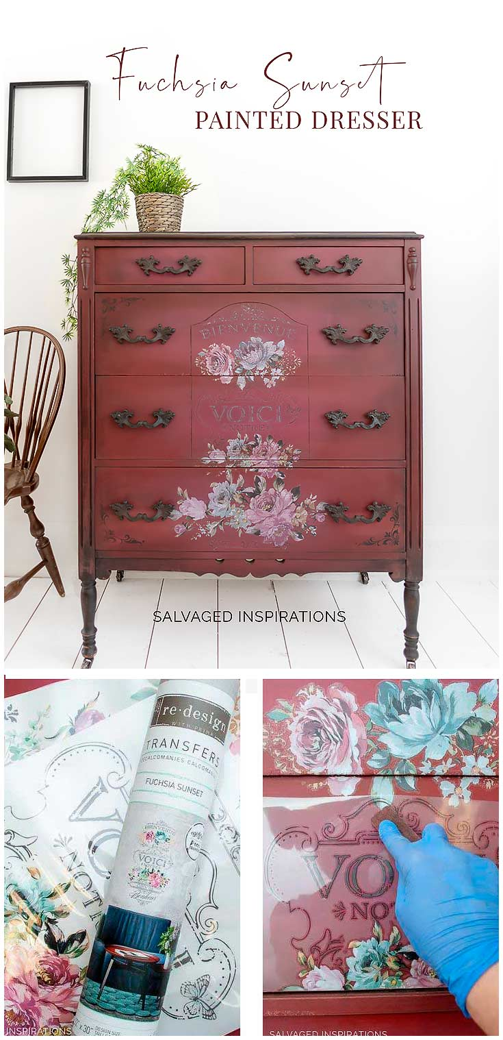 Fuchsia Sunset Painted Dresser Pin it
