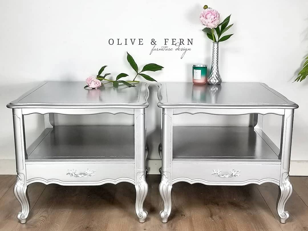 Olive & Fern Metallic Painted Side Tables