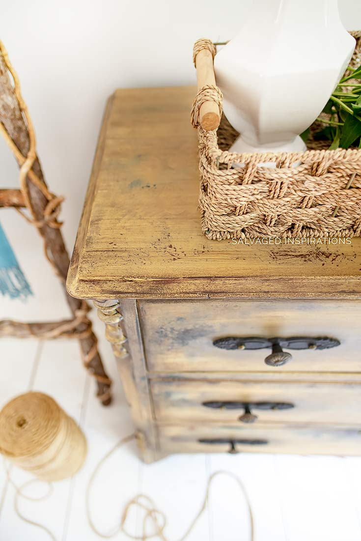Painted Antiqued Dresser Makeover in Rebel Yellow and Glaze