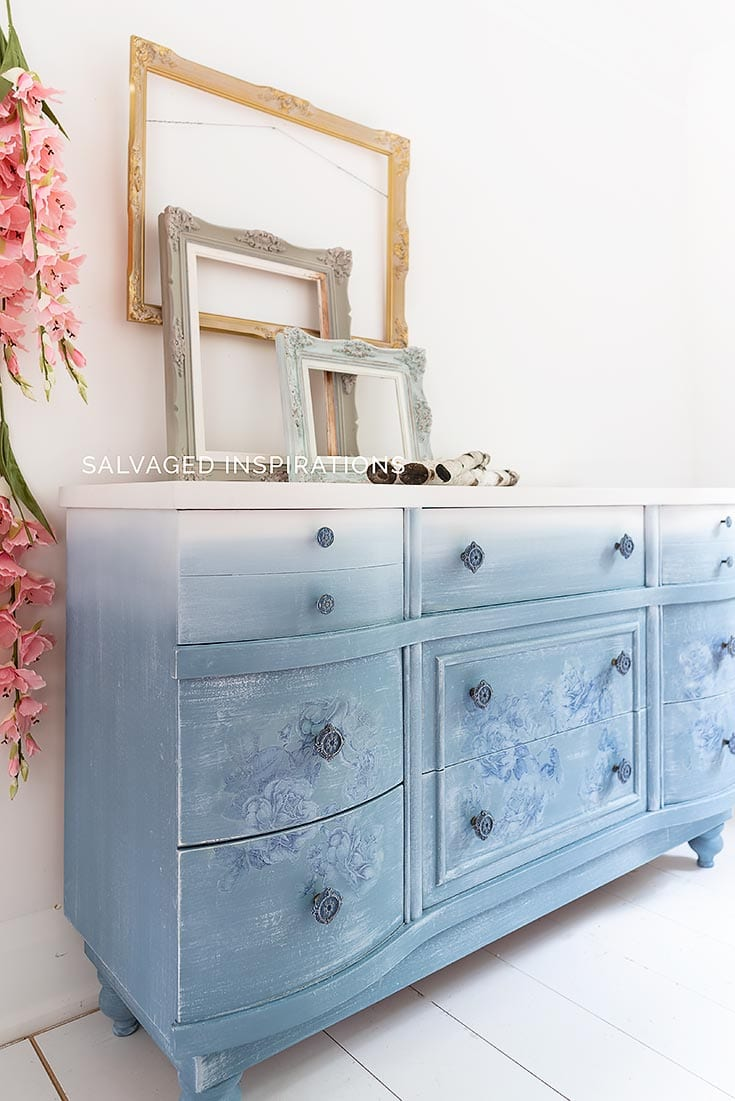 Side View Of DB Dusty Blue Floral Dresser