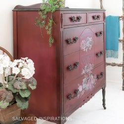 Side View of Fuchsia Sunset Painted Dresser SIBLOG