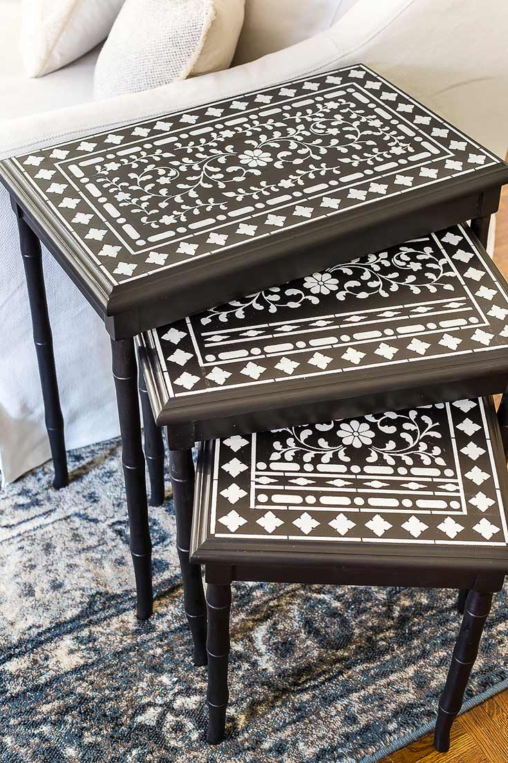 Blesser House stenciled-indian-inlay-nesting-tables-2-of-5