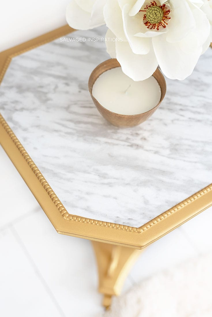 Close Up of Faux Marble Table Top