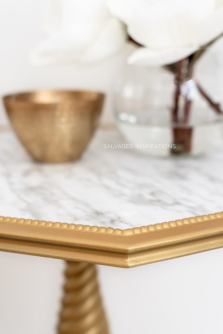 Close Up of Gold Painted Side Table w Faux Marble Inlay